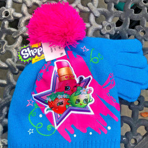 Shopkins Girls Star Beanie / Hat and Gloves Set